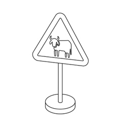 Warning road sign icon in outline style isolated vector image