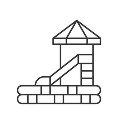 Water slides icon amusement park related line vector
