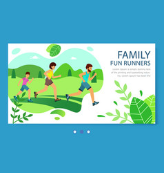 website family fun runners lifestyle healthy vector image