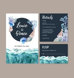 Wedding invitation watercolor design with simple vector