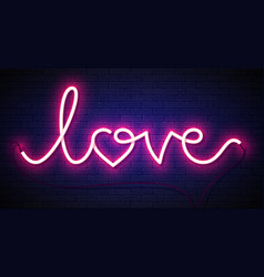 Word love neon sign on brick wall background vector