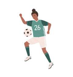 young female soccer player kicking ball african vector image