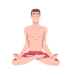 Young man cross-legged sitting in padmasana or vector