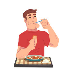 Young man eating delicious stewed meal cheerful vector