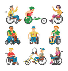 disabled people in wheelchair character of vector image