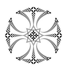 Laurel wreath tattoo Black ornament Cross sign vector image