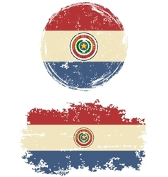 Paraguayan round and square grunge flags vector image vector image