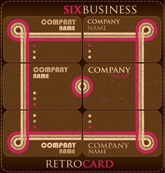 six business retro card vector image vector image