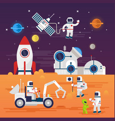 astronauts characters set in flat cartoon style vector image