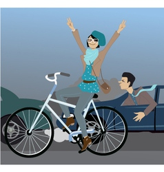 Beat the traffic on a bike vector