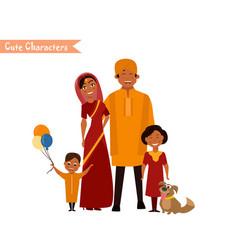 big happy indian family vector image vector image