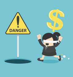 blindfolded business woman running to find money vector image vector image