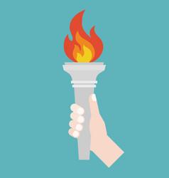 hand holding torch symbol flat design vector image