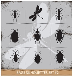 Insect silhouettes sign set black color vector image vector image