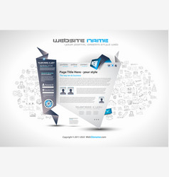 Modern style origami web template design with vector