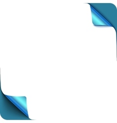Page blue curl corners with shadow on blank white vector