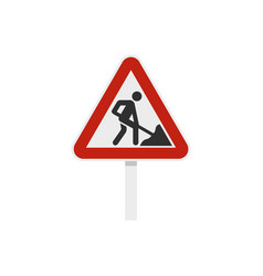 roadworks sign icon flat style vector image