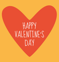 valentine day card with red heart and sign vector image