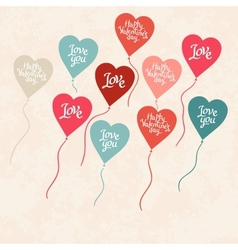 Background with balloons in the shape of heart vector image vector image