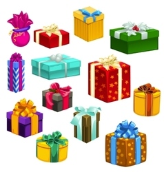 Big set of gift boxes different colors and shapes vector image vector image