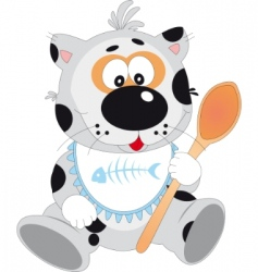 cat with spoon vector image vector image