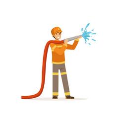 Fireman character spraying water using hose vector