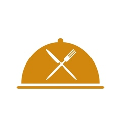 Restaurant icon with cloche and flatware vector image