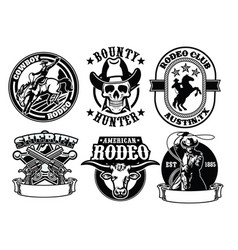 set of cowboy badge vector image