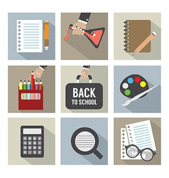 Set of Modern Flat Design Education Icons vector image