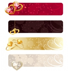 for horizontal banners with jewels vector image vector image