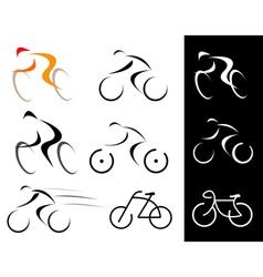 racing cyclist bicyclist set vector image vector image
