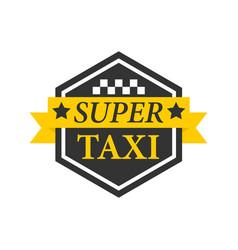 super taxi emblem label in hexagon black frame vector image vector image
