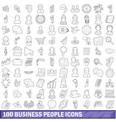 100 business people icons set outline style vector image