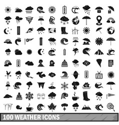 100 weather icons set in simple style vector