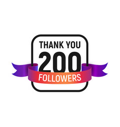 200 followers number with color bright ribbon vector image