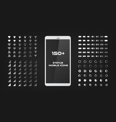 about 150 interface icons mobile battery power vector image