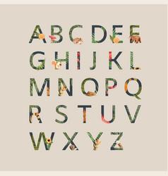 Alphabet design with autumn theme vegetation vector