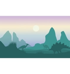 At morning silhouette of parasaurolophus and vector