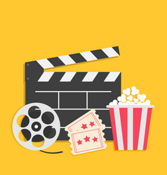 Big movie reel open clapper board popcorn box vector