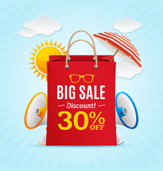 big sale summer concept banner card or poster vector image