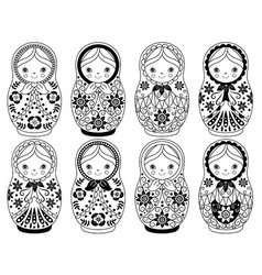 Black and White Matryoshka Set vector