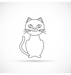 Black cat outline icon vector