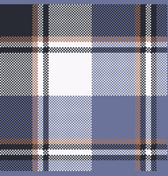 Blue check pixel tartan seamless fabric texture vector