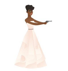 bride in a white wedding dress holding a handgun vector image