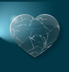 Broken heart made from glass vector