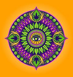 cannabis leaf mandala psychedelic vector image