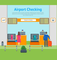 cartoon airport check in card poster vector image