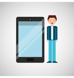 character man young with smartphone shiny layer vector image