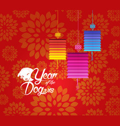 Chinese new year 2018 plum blossom and dog vector