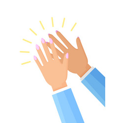 Clapping hands of woman poster vector